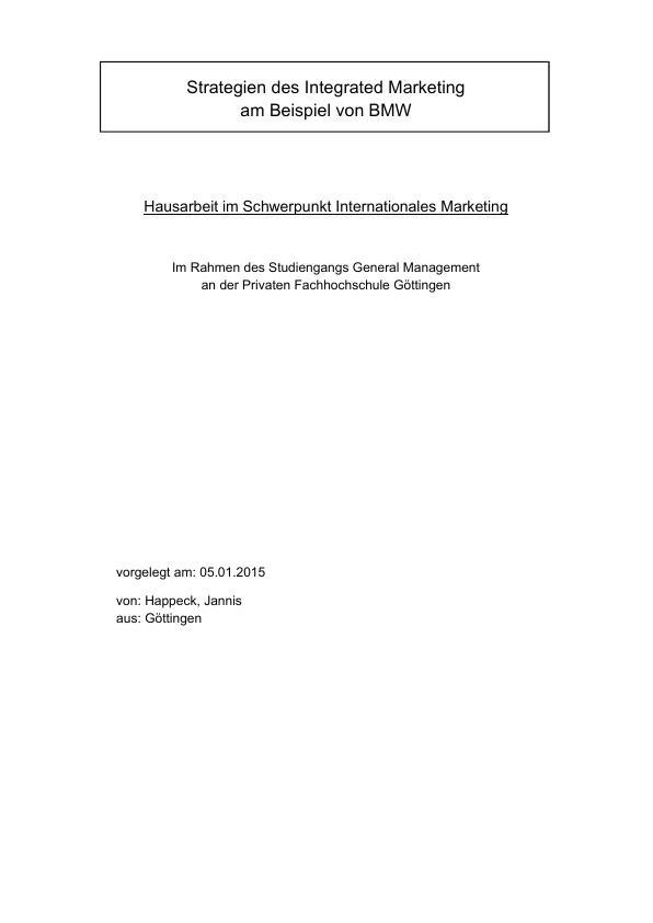 Titel: Strategien des Integrated Marketing am Beispiel eines Automobilkonzerns