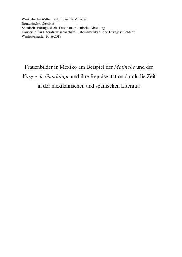 Titel: Frauenbilder in Mexiko. Malinche und Virgen de Guadalupe und ihre Repräsentation durch die Zeit in der mexikanischen und spanischen Literatur