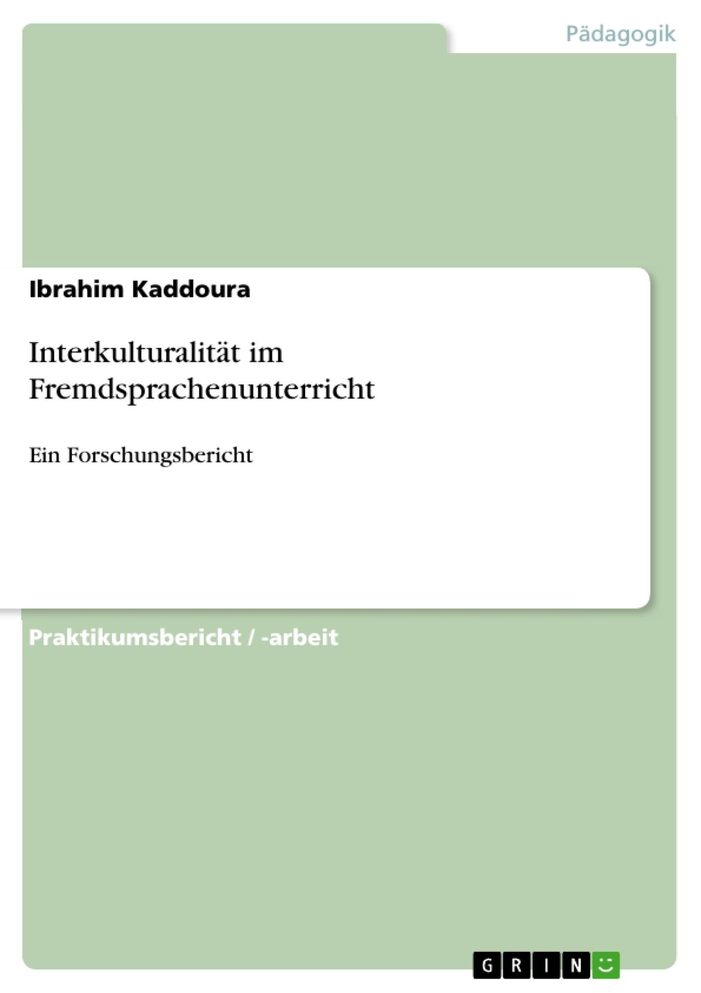 Titel: Interkulturalität im Fremdsprachenunterricht
