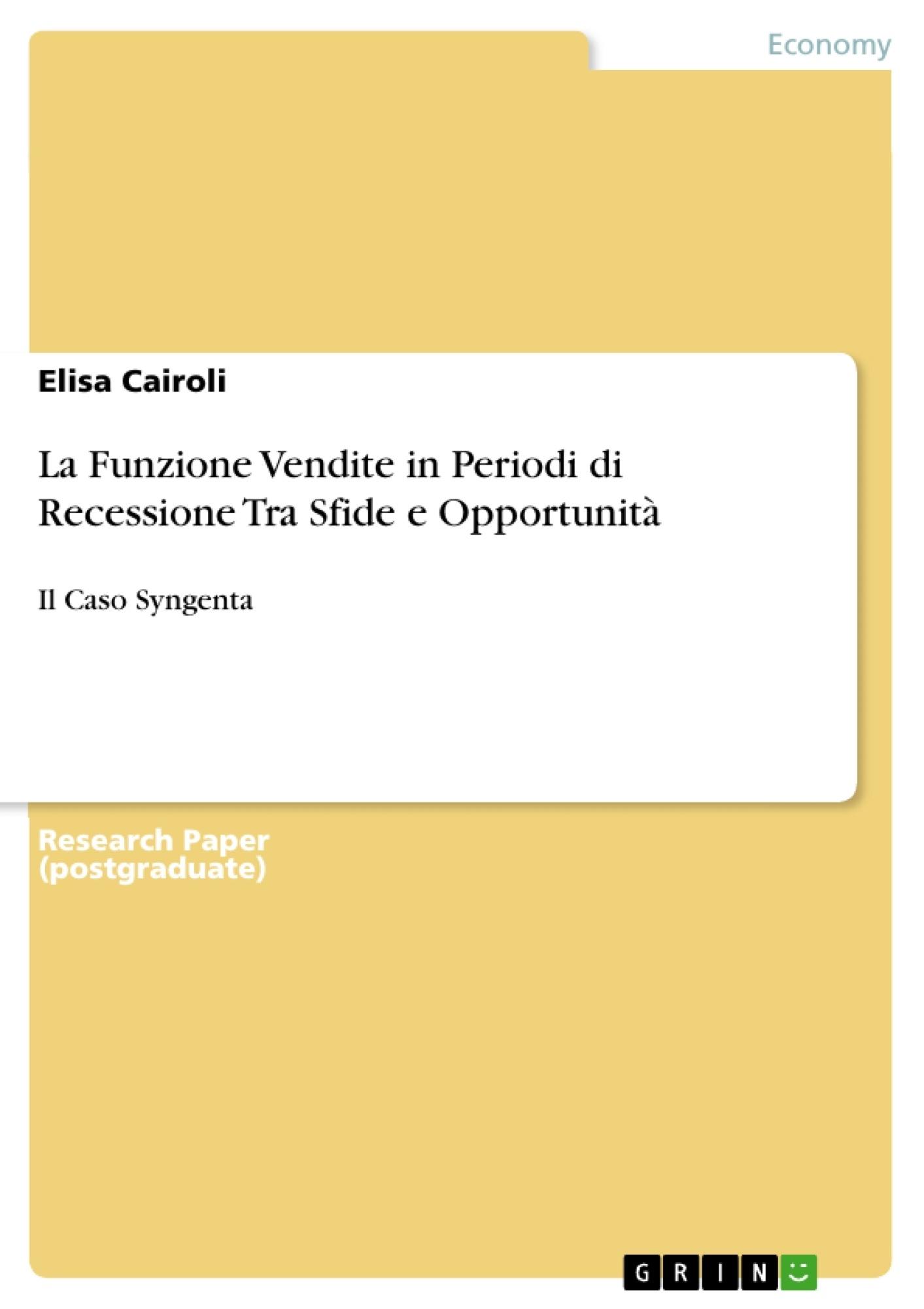 Title: La Funzione Vendite in Periodi di Recessione Tra Sfide e Opportunità