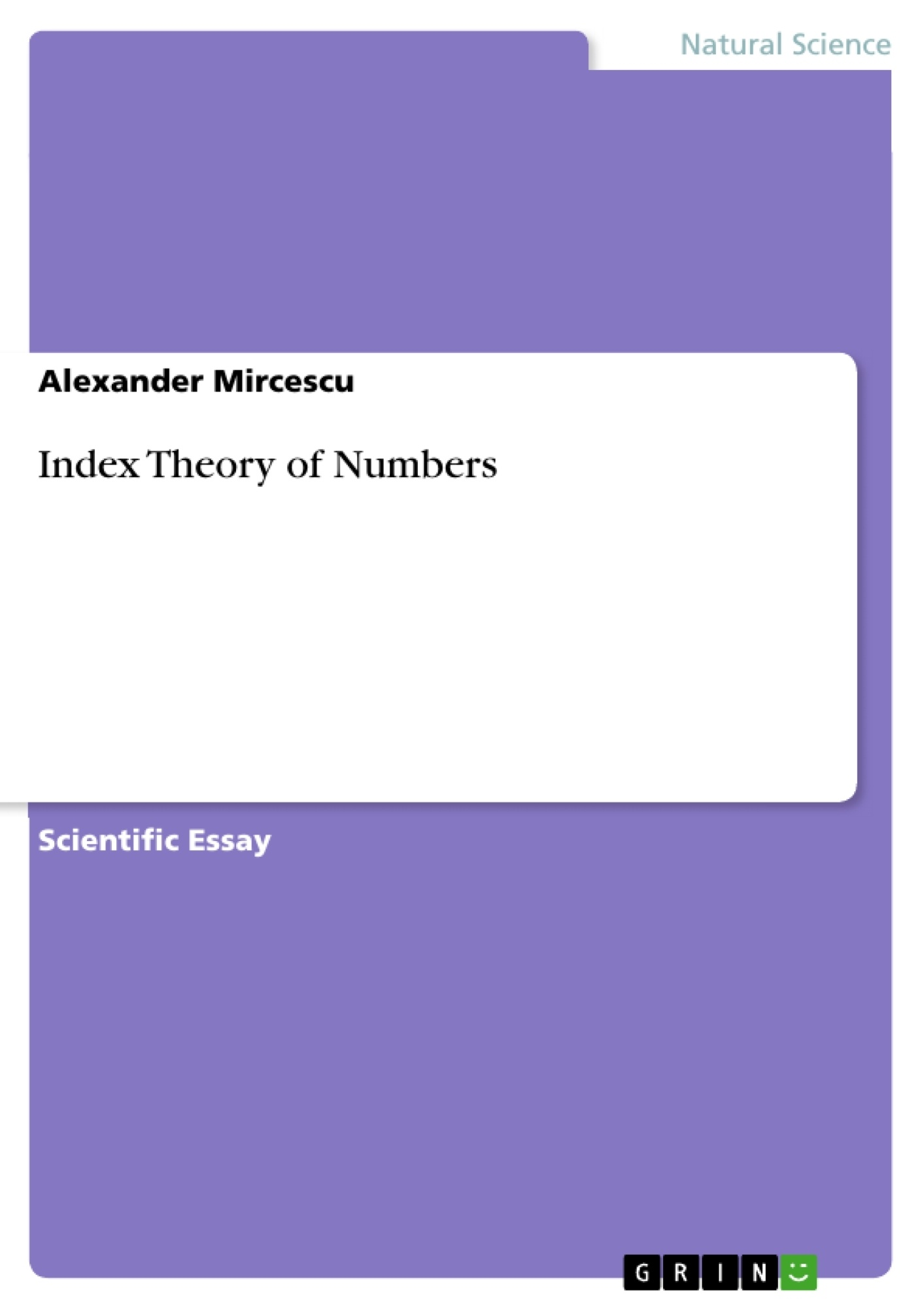 Title: Index Theory of Numbers