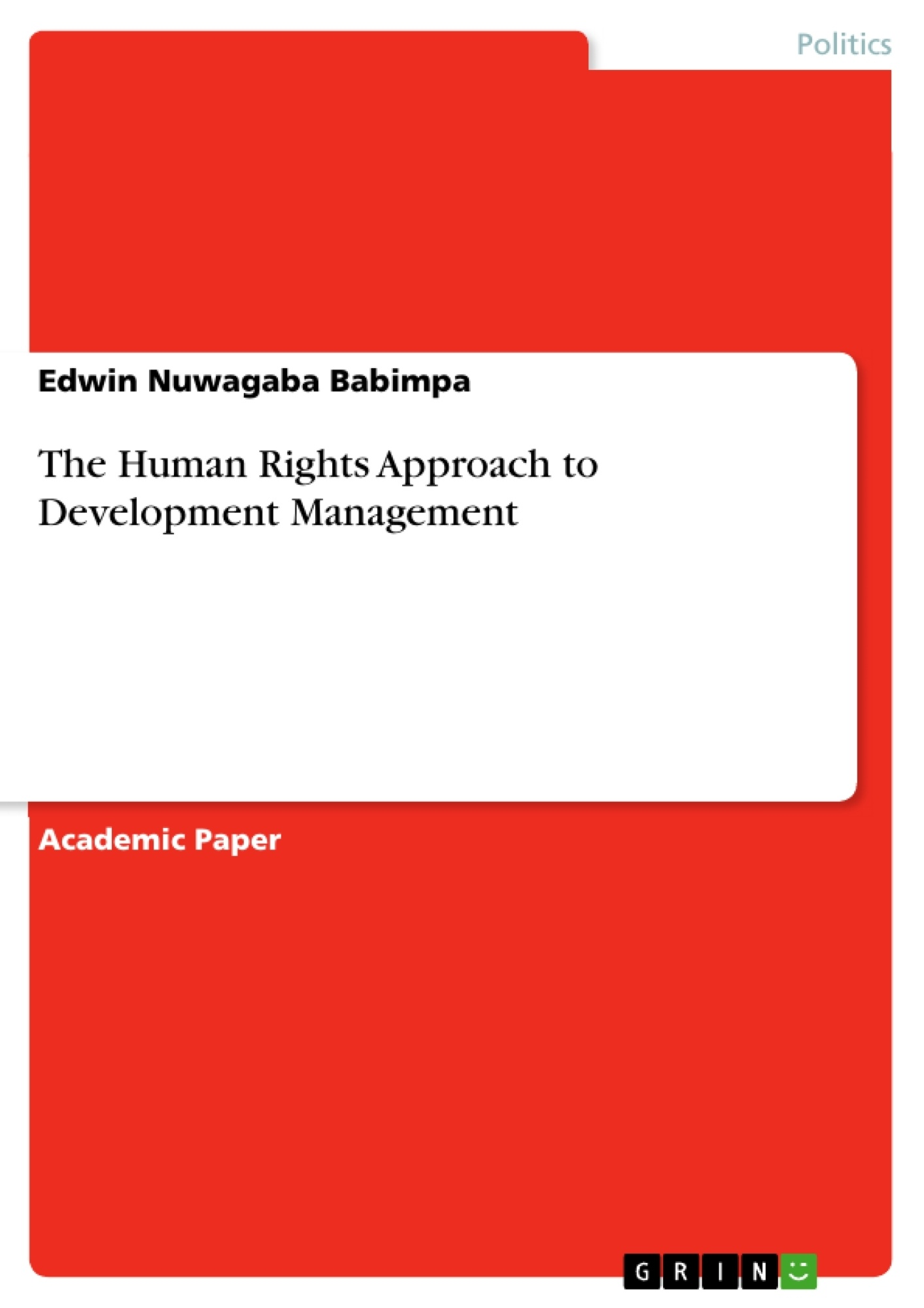 Title: The Human Rights Approach to Development Management