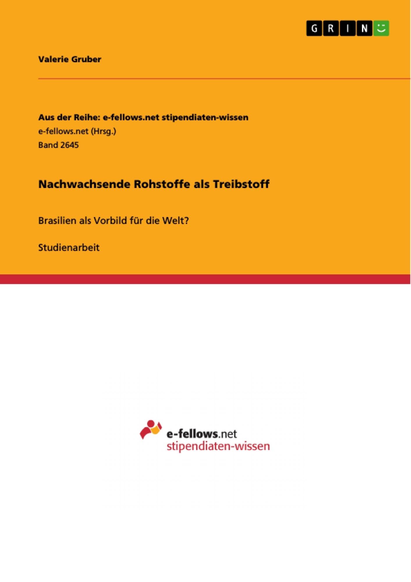 Titel: Nachwachsende Rohstoffe als Treibstoff