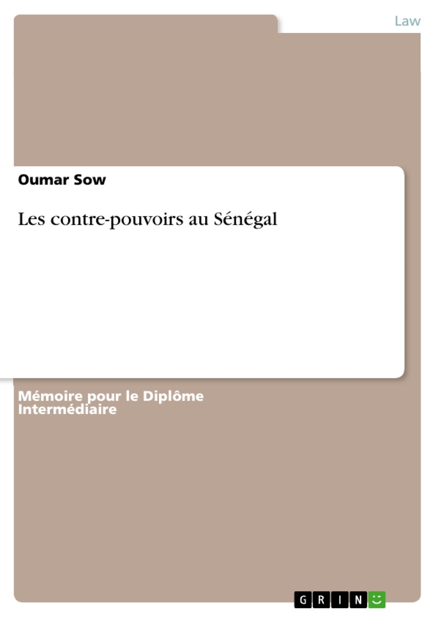 Titre: Les contre-pouvoirs au Sénégal