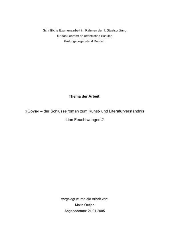 """Titel: """"Goya"""" - der Schlüsselroman zum Kunst- und Literaturverständnis Lion Feuchtwangers?"""