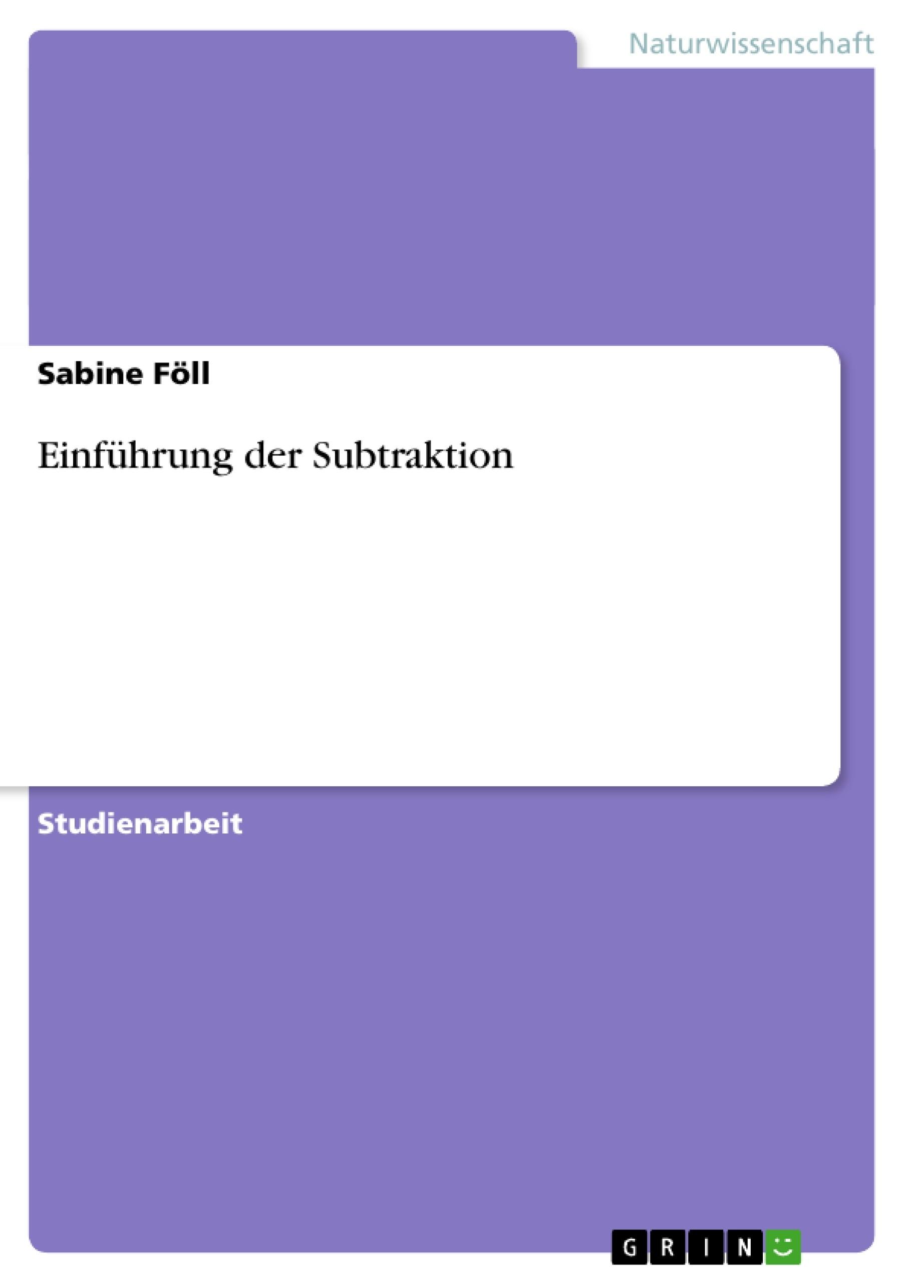 Einführung der Subtraktion | Masterarbeit, Hausarbeit ...
