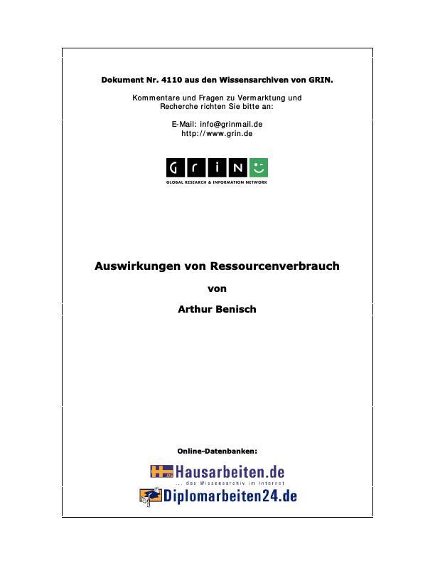 Titel: Auswirkungen von Ressourcenverbrauch