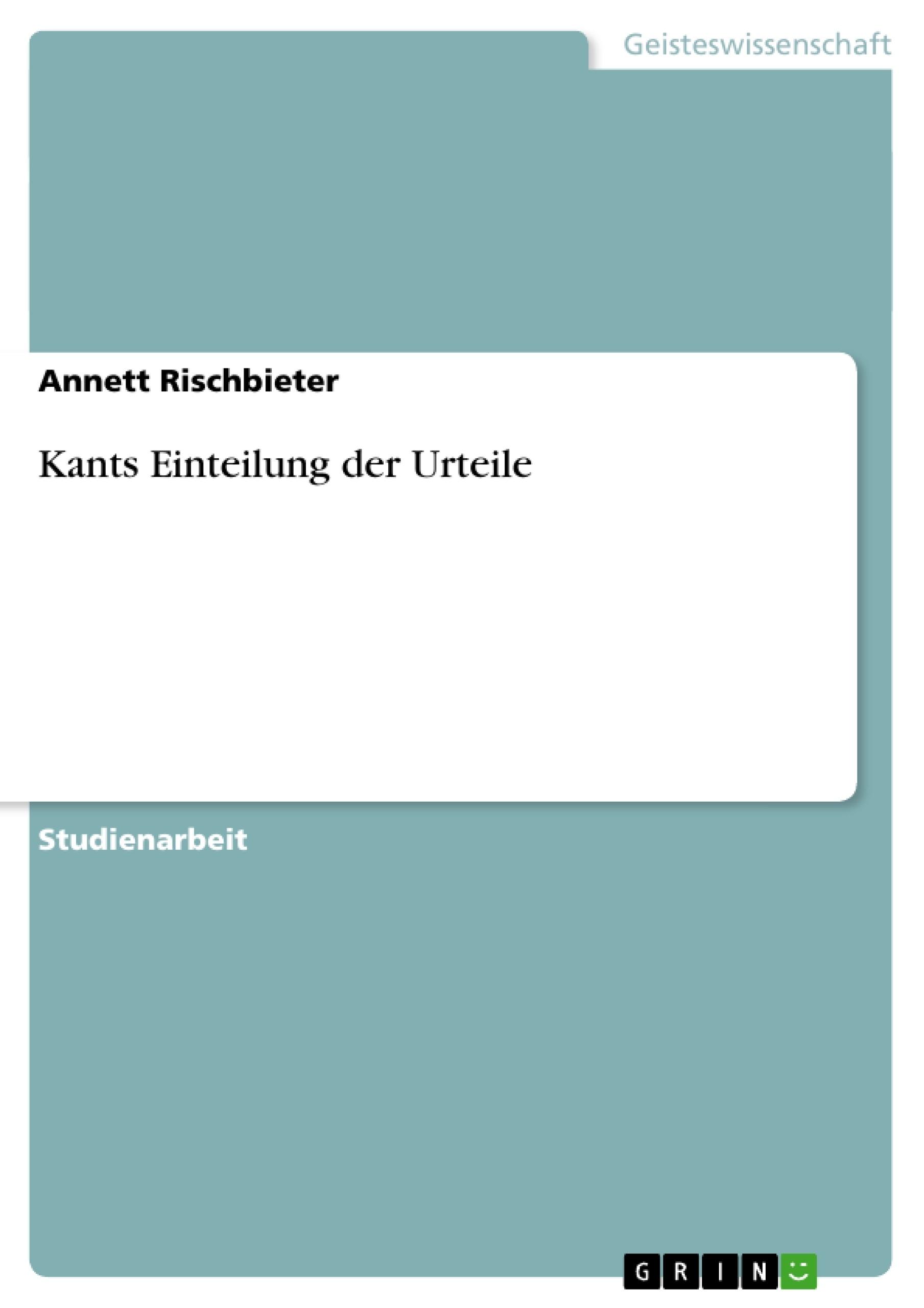 Titel: Kants Einteilung der Urteile