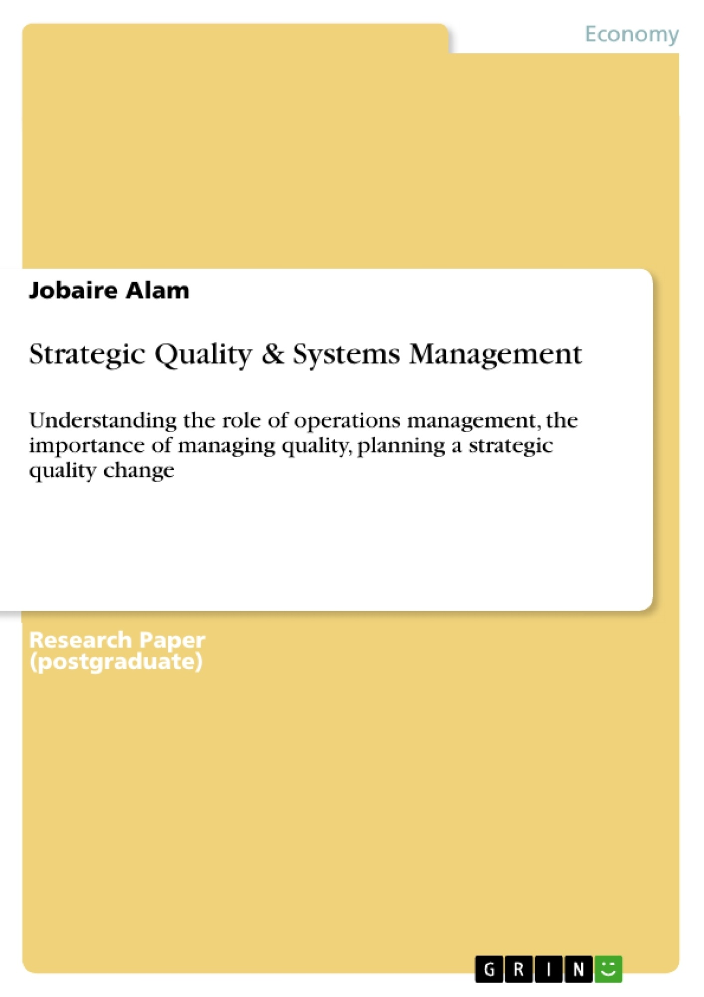 Management master quality thesis
