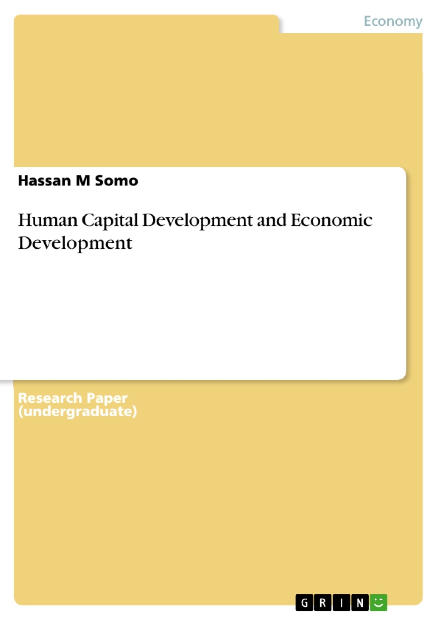 Title: Human Capital Development and Economic Development