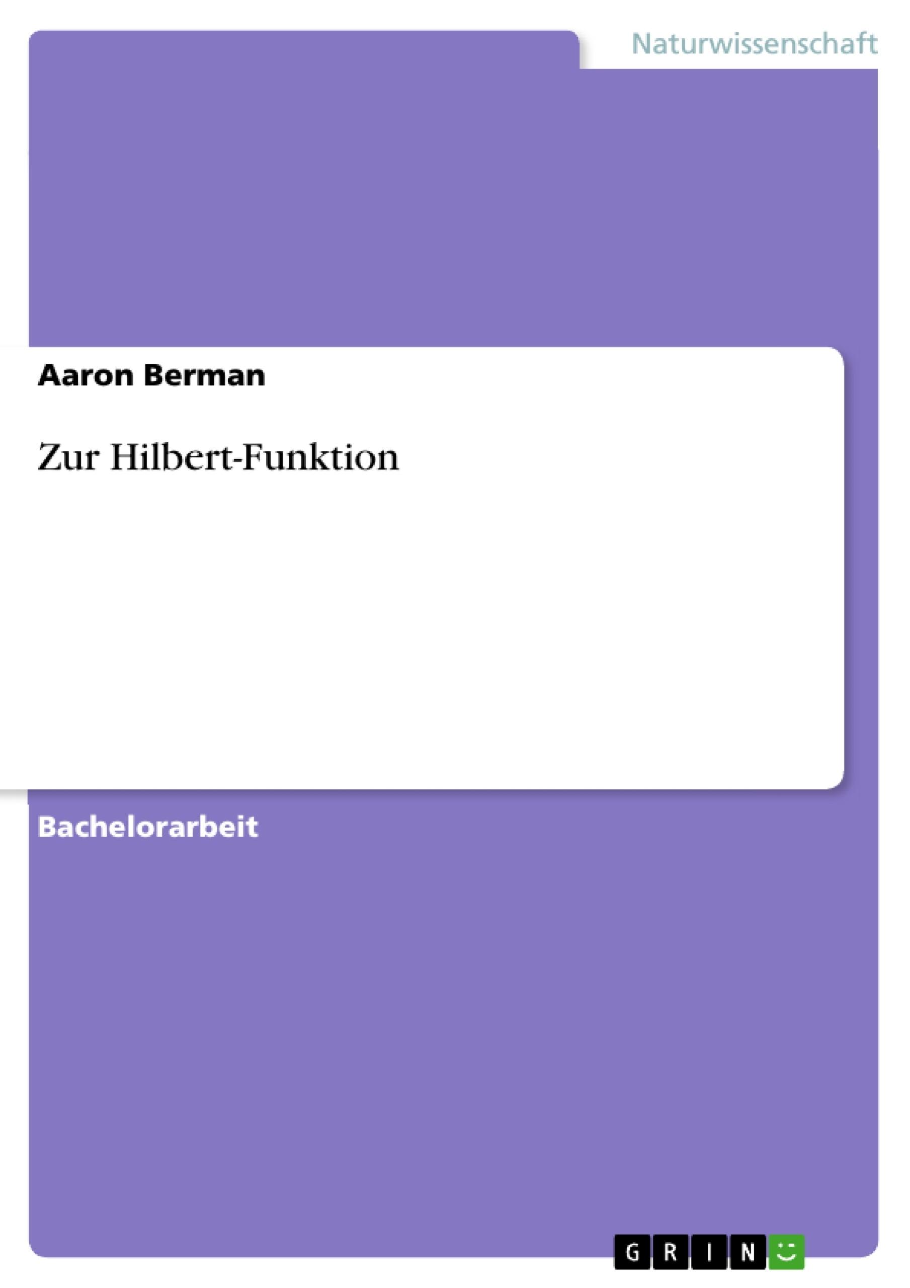 Titel: Zur Hilbert-Funktion