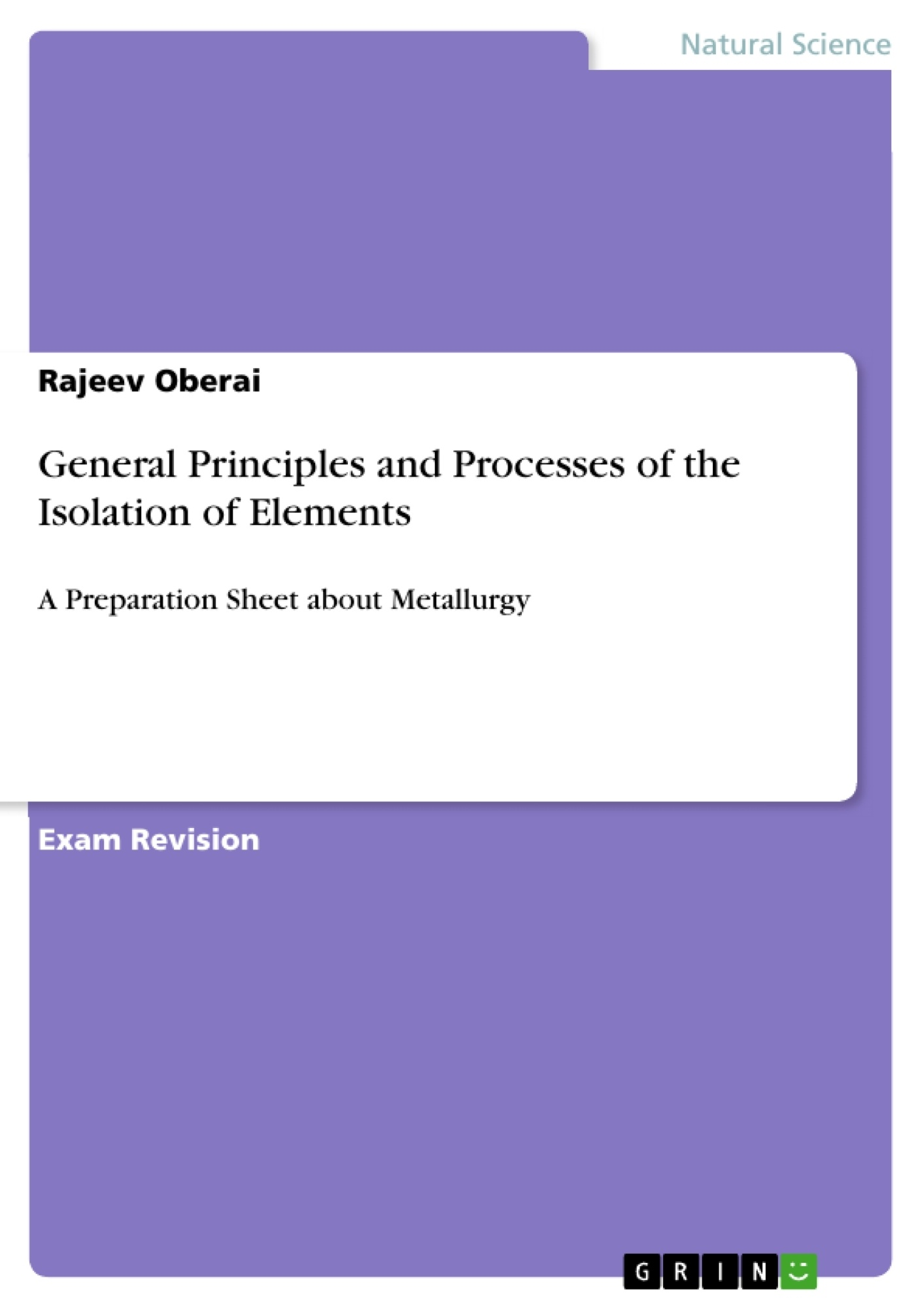 Title: General Principles and Processes of the Isolation of Elements