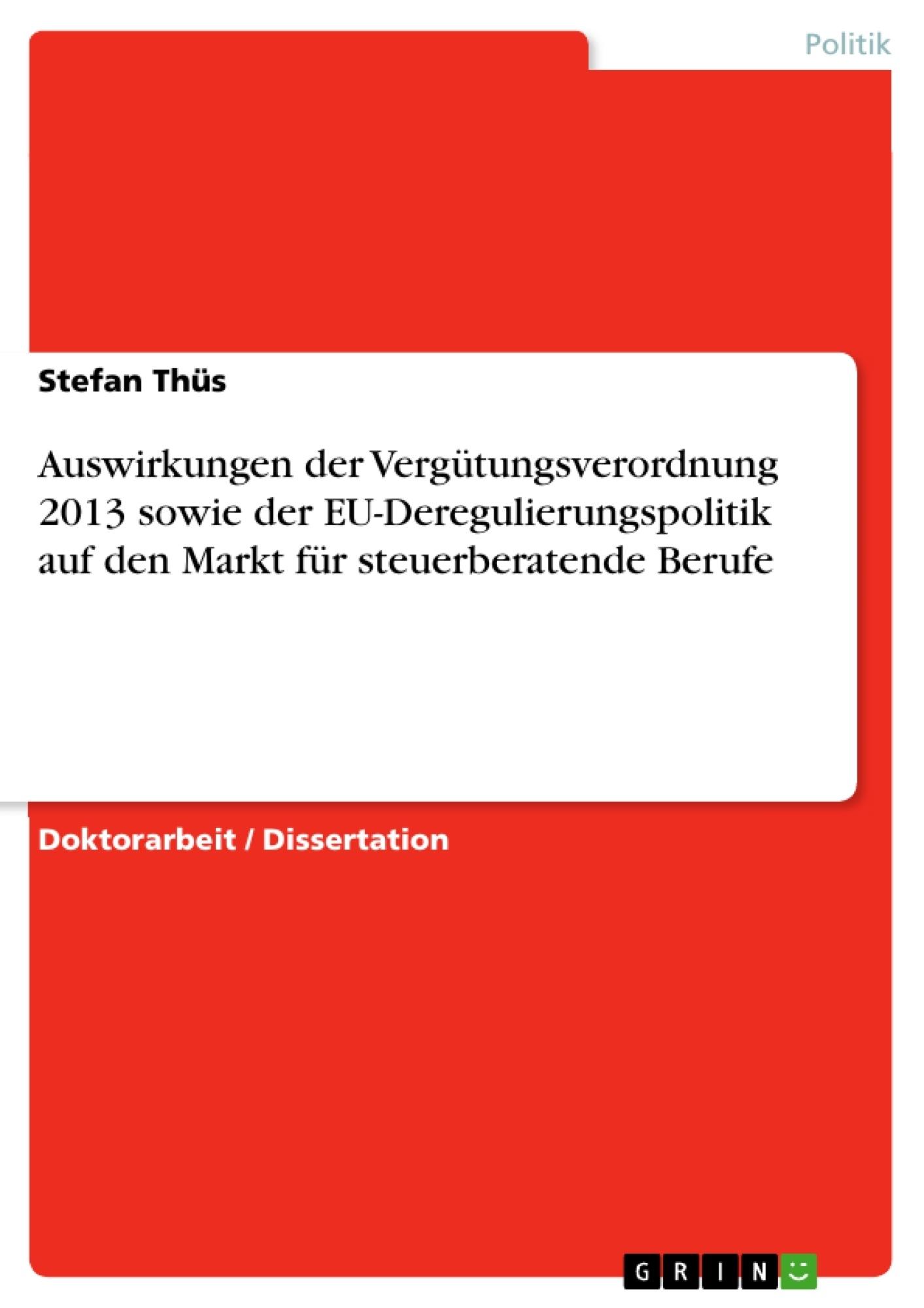 Auswirkungen Der Vergütungsverordnung 2013 Sowie Der