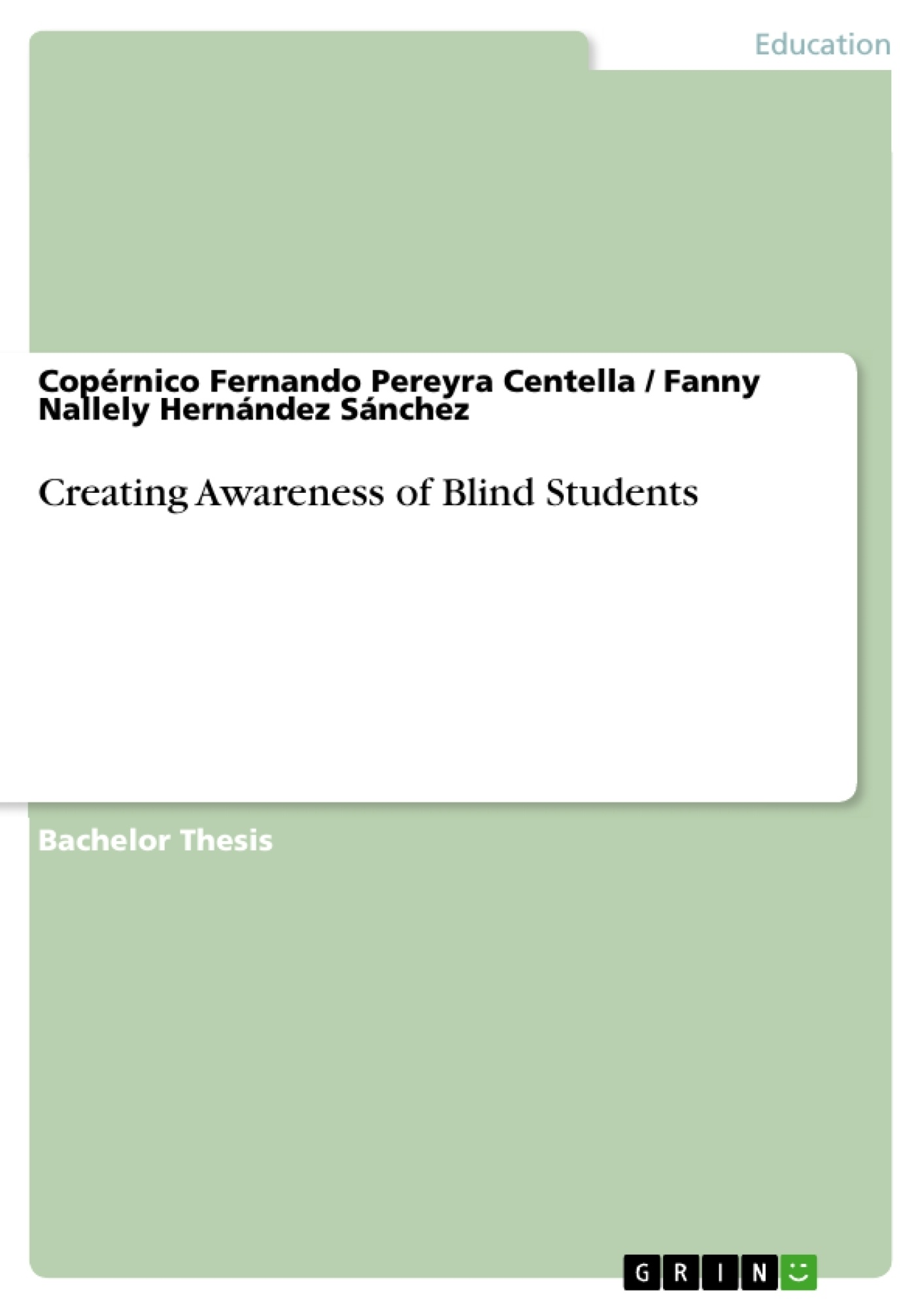 Title: Creating Awareness of Blind Students