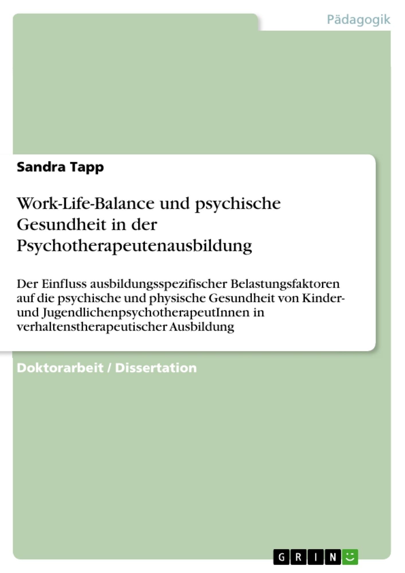 Work-Life-Balance und psychische Gesundheit in der ...
