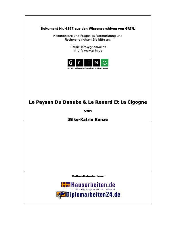Titel: Le Paysan Du Danube & Le Renard Et La Cigogne