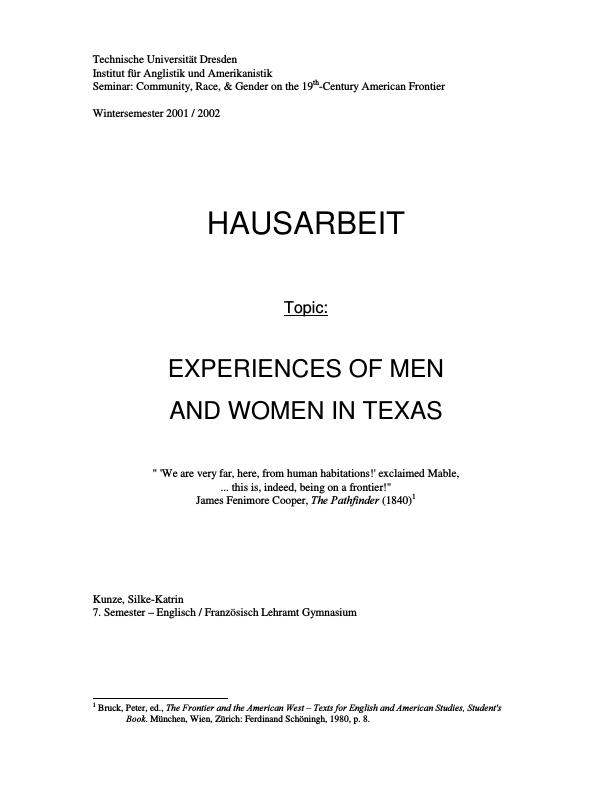 Title: Experiences of Men and Women in Texas