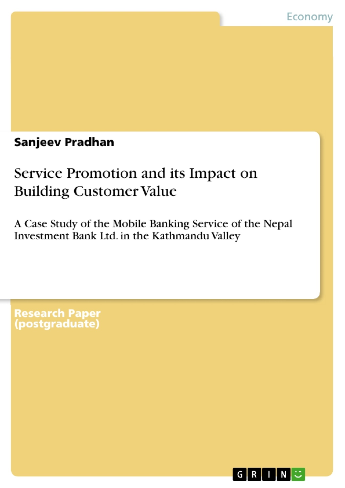 Title: Service Promotion and its Impact on Building Customer Value