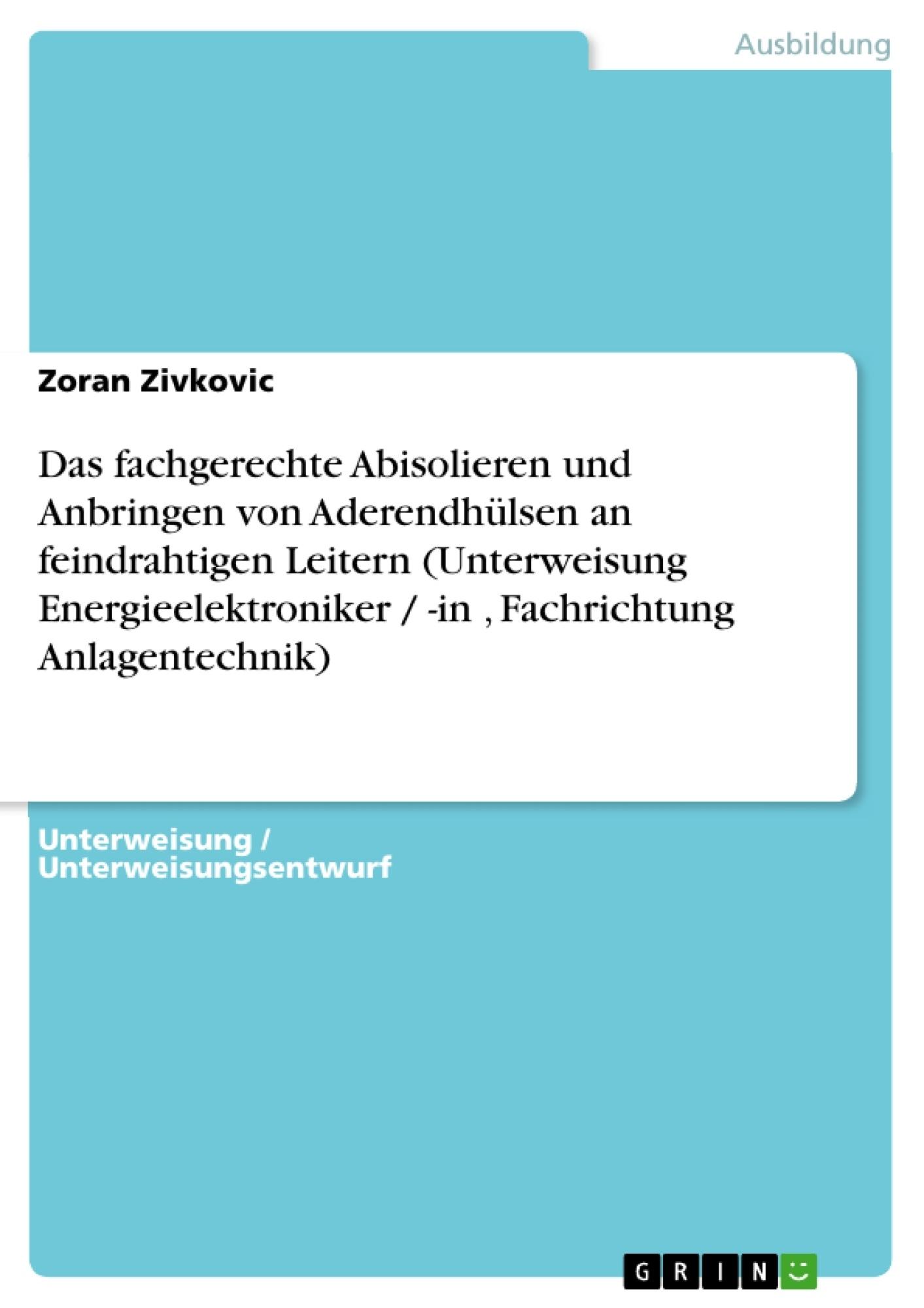 Titel: Das fachgerechte Abisolieren und Anbringen von Aderendhülsen an feindrahtigen Leitern (Unterweisung Energieelektroniker / -in , Fachrichtung Anlagentechnik)