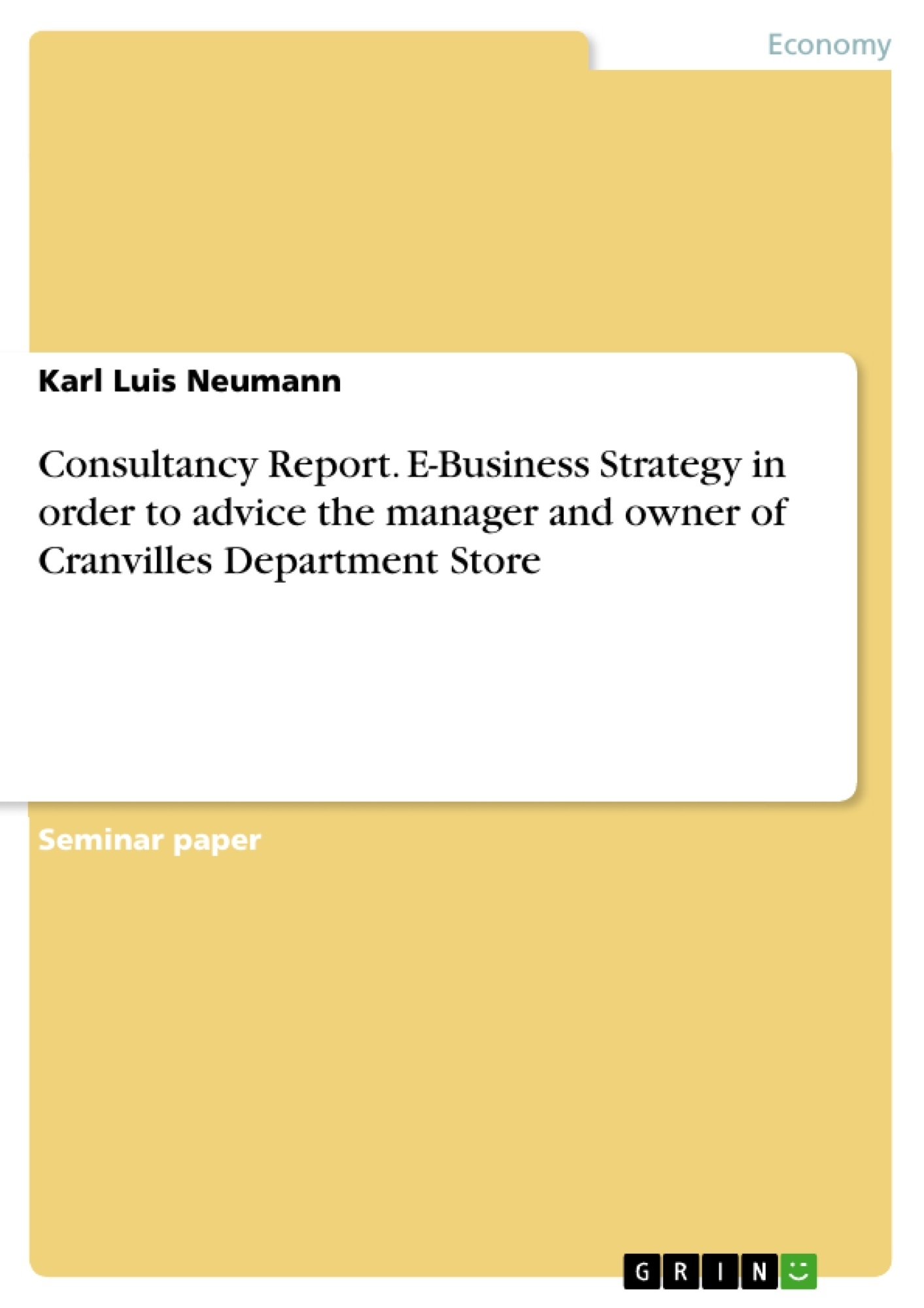 Title: Consultancy Report. E-Business Strategy in order to advice the manager and owner of Cranvilles Department Store