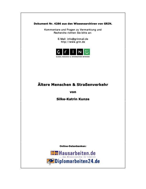 Titel: Ältere Menschen und Straßenverkehr