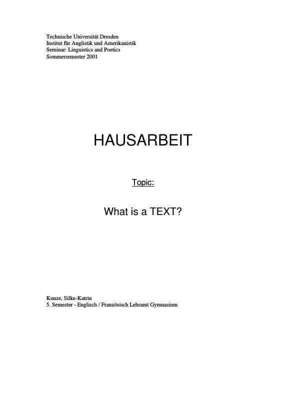 Title: What is a TEXT?
