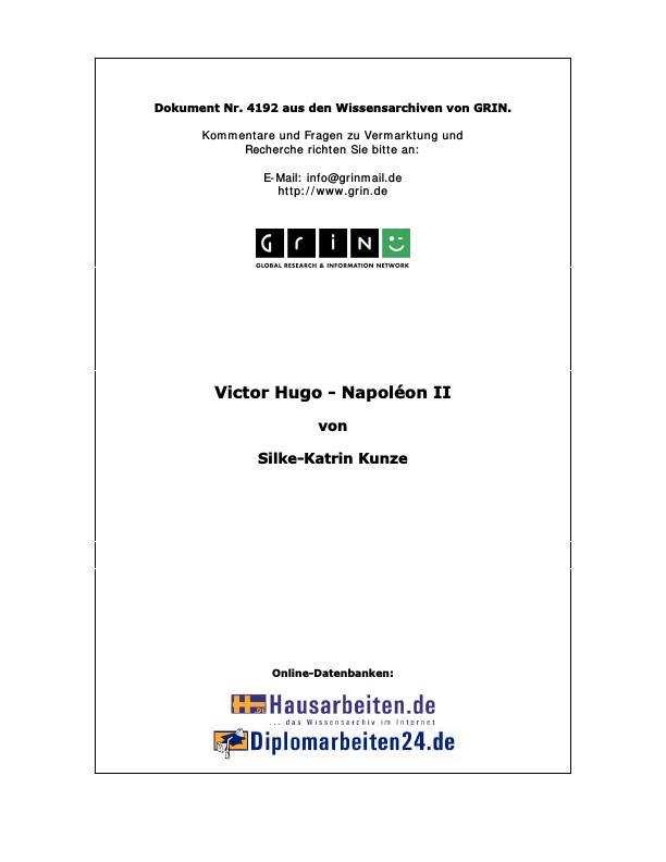 """Titel: Zu: Victor Hugos """"Napoléon II"""". Eine Textanalyse"""