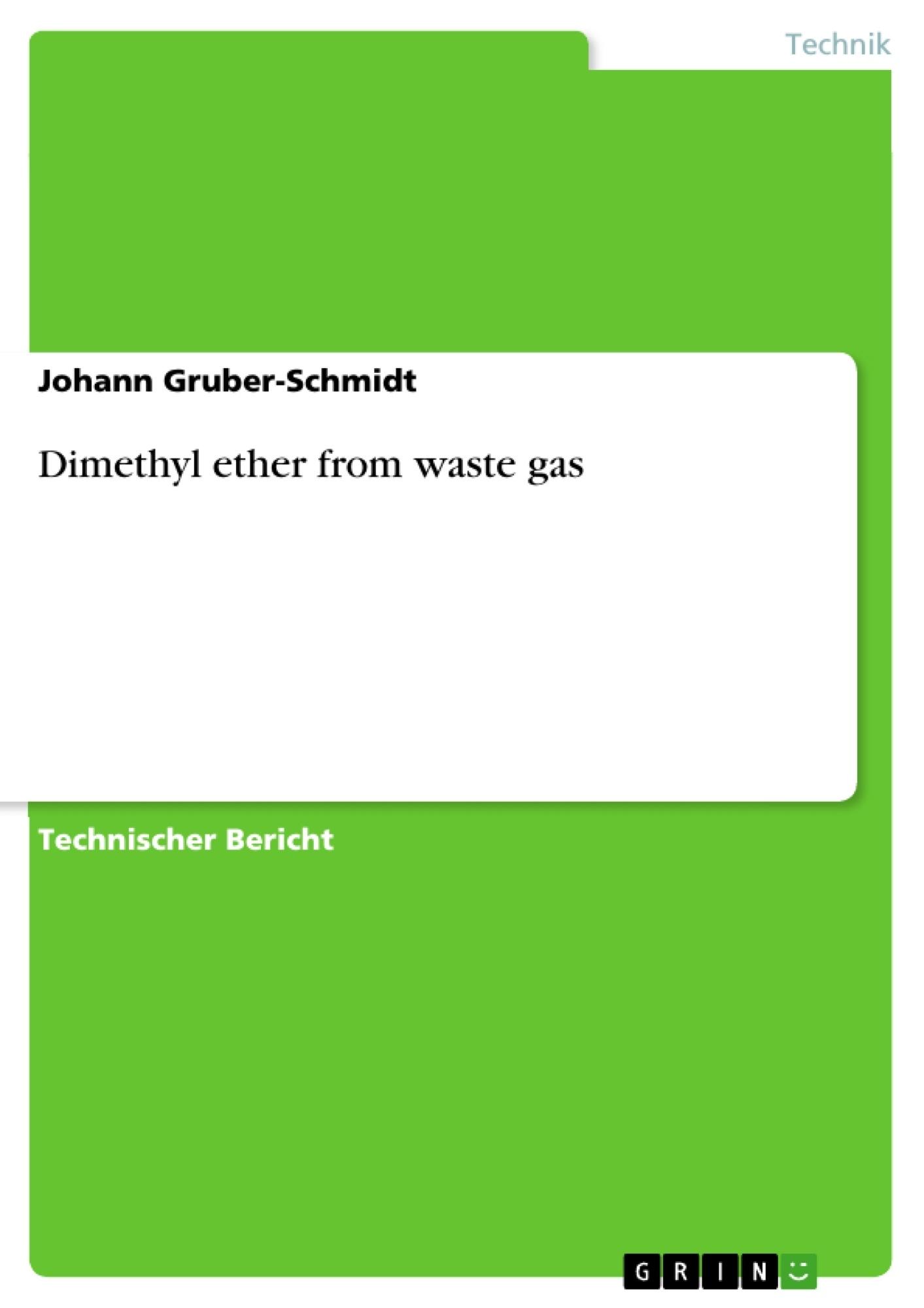 Titel: Dimethyl ether from waste gas