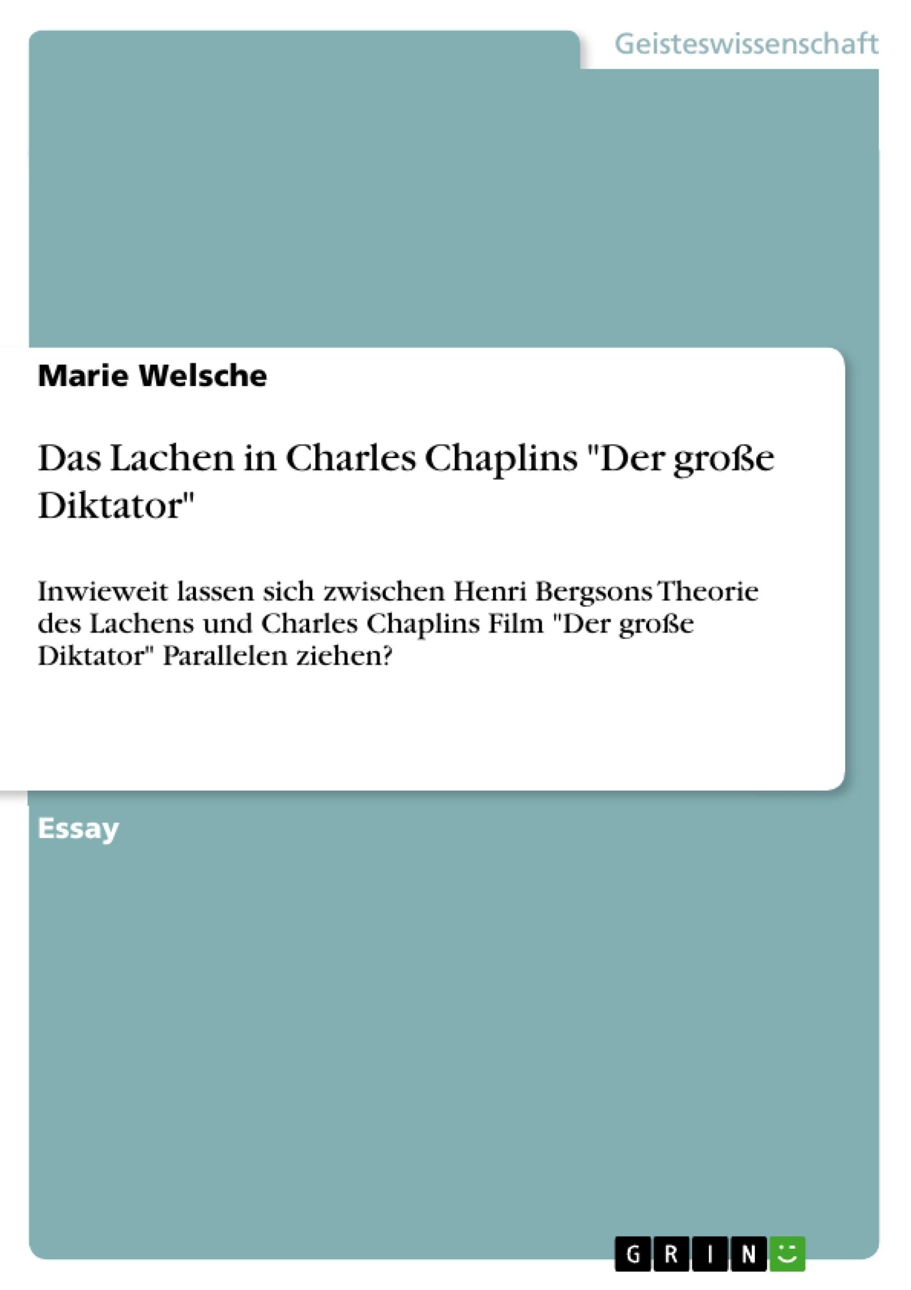 """Titel: Das Lachen in Charles Chaplins """"Der große Diktator"""""""