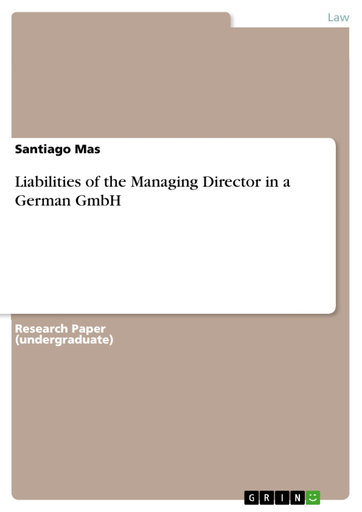 Title: Liabilities of the Managing Director in a German GmbH