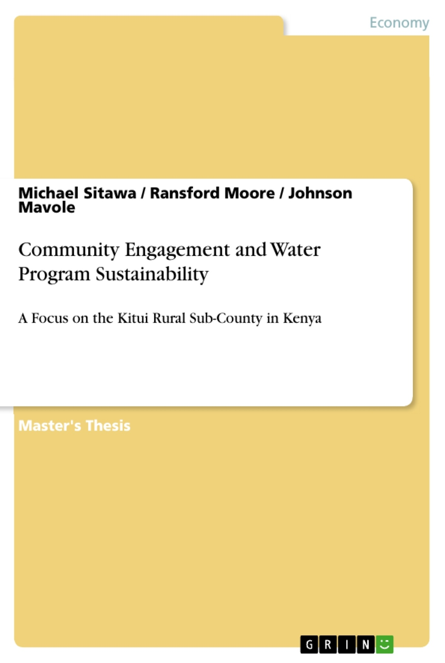Title: Community Engagement and Water Program Sustainability