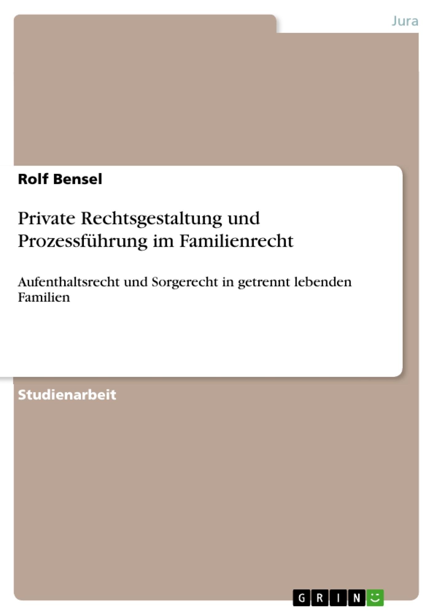 Titel: Private Rechtsgestaltung und Prozessführung im Familienrecht