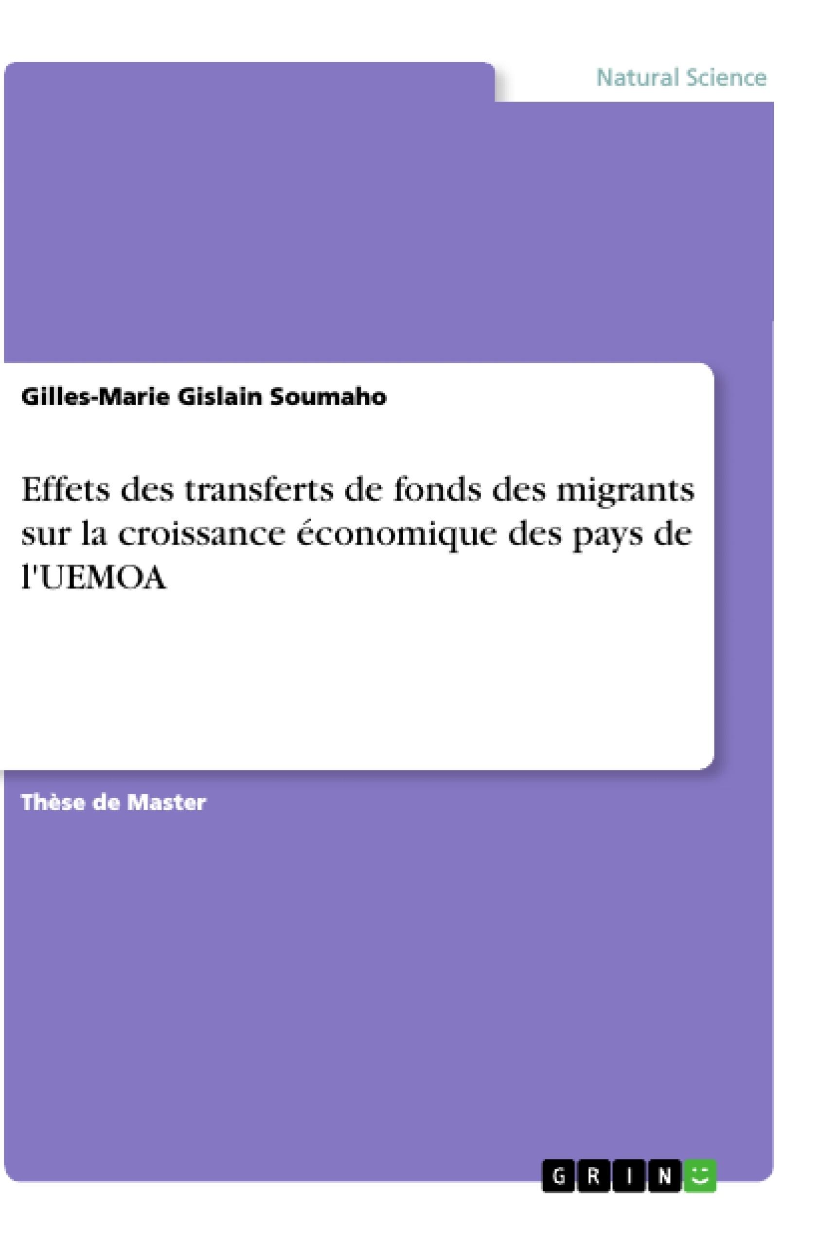 Titre: Effets des transferts de fonds des migrants sur la croissance économique des pays de l'UEMOA