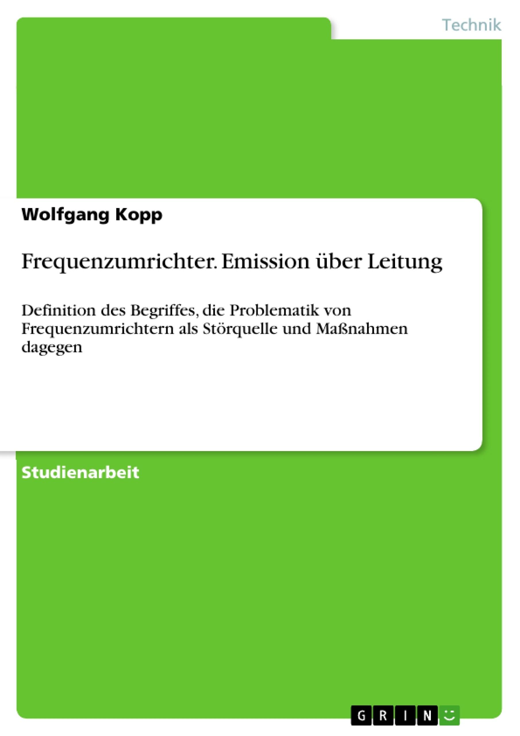 Titel: Frequenzumrichter. Emission über Leitung
