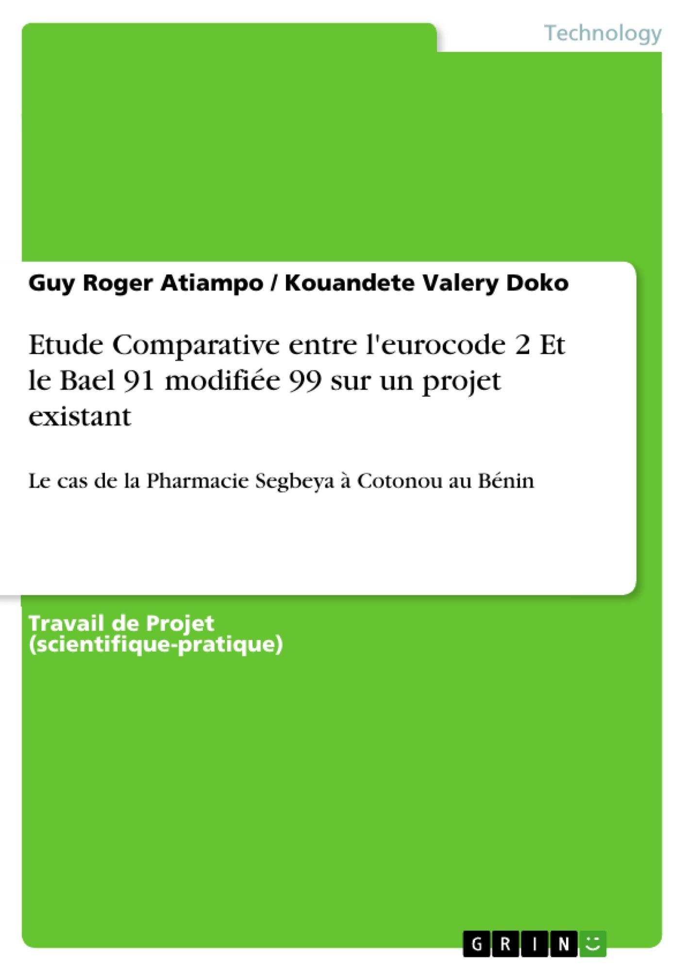 Titre: Etude Comparative entre l'eurocode 2 Et le Bael 91 modifiée 99 sur un projet existant