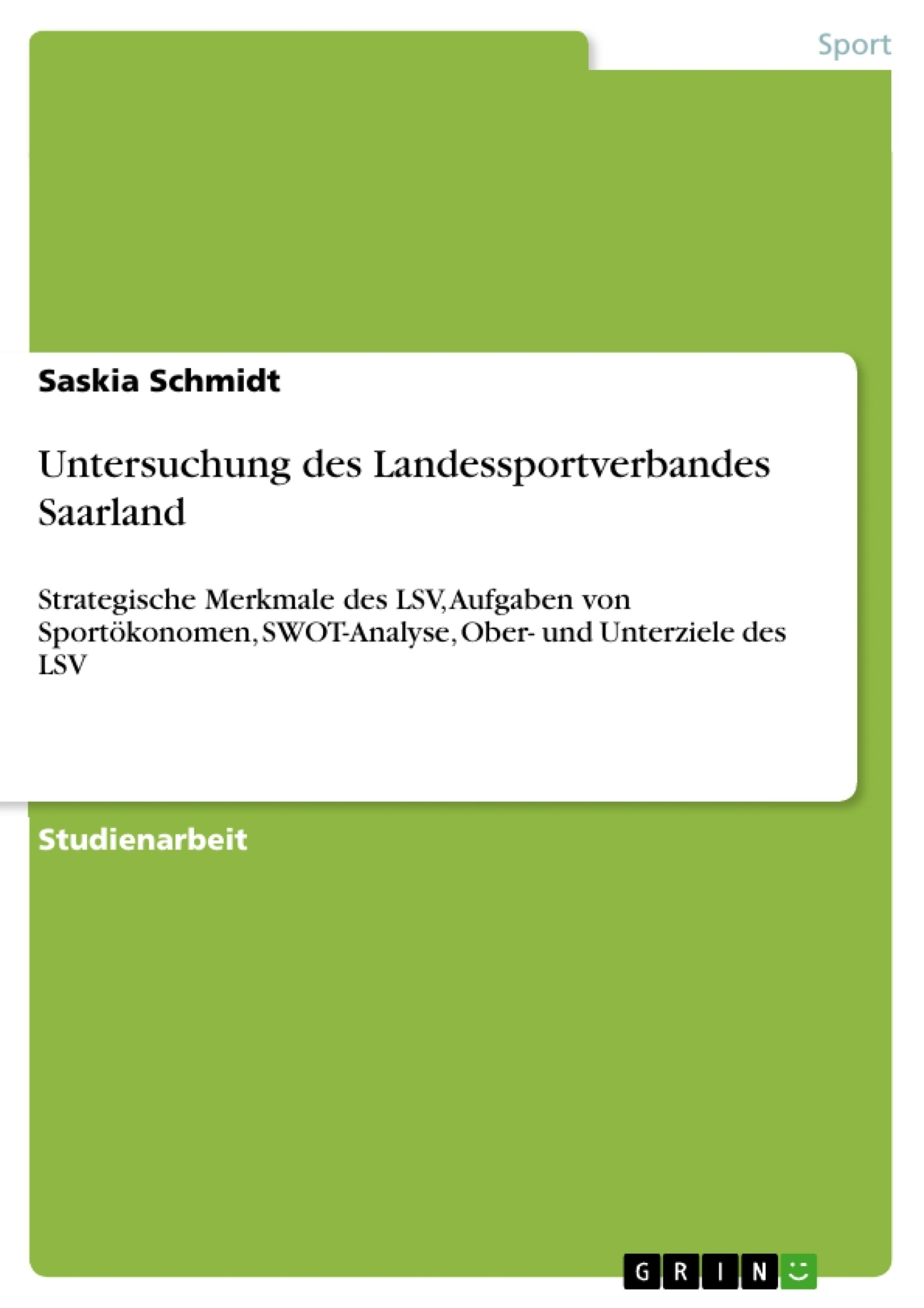 Titel: Untersuchung des Landessportverbandes Saarland
