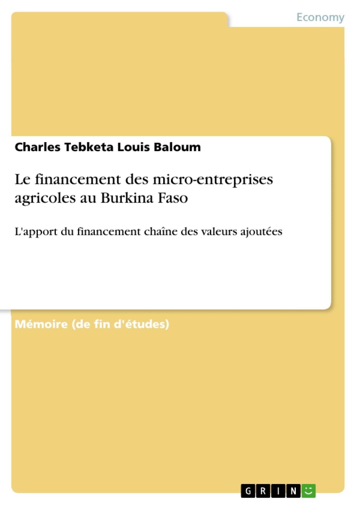 Titre: Le financement des micro-entreprises agricoles au Burkina Faso