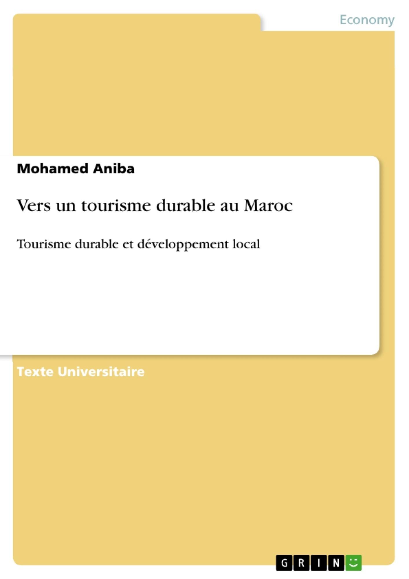 Titre: Vers un tourisme durable au Maroc