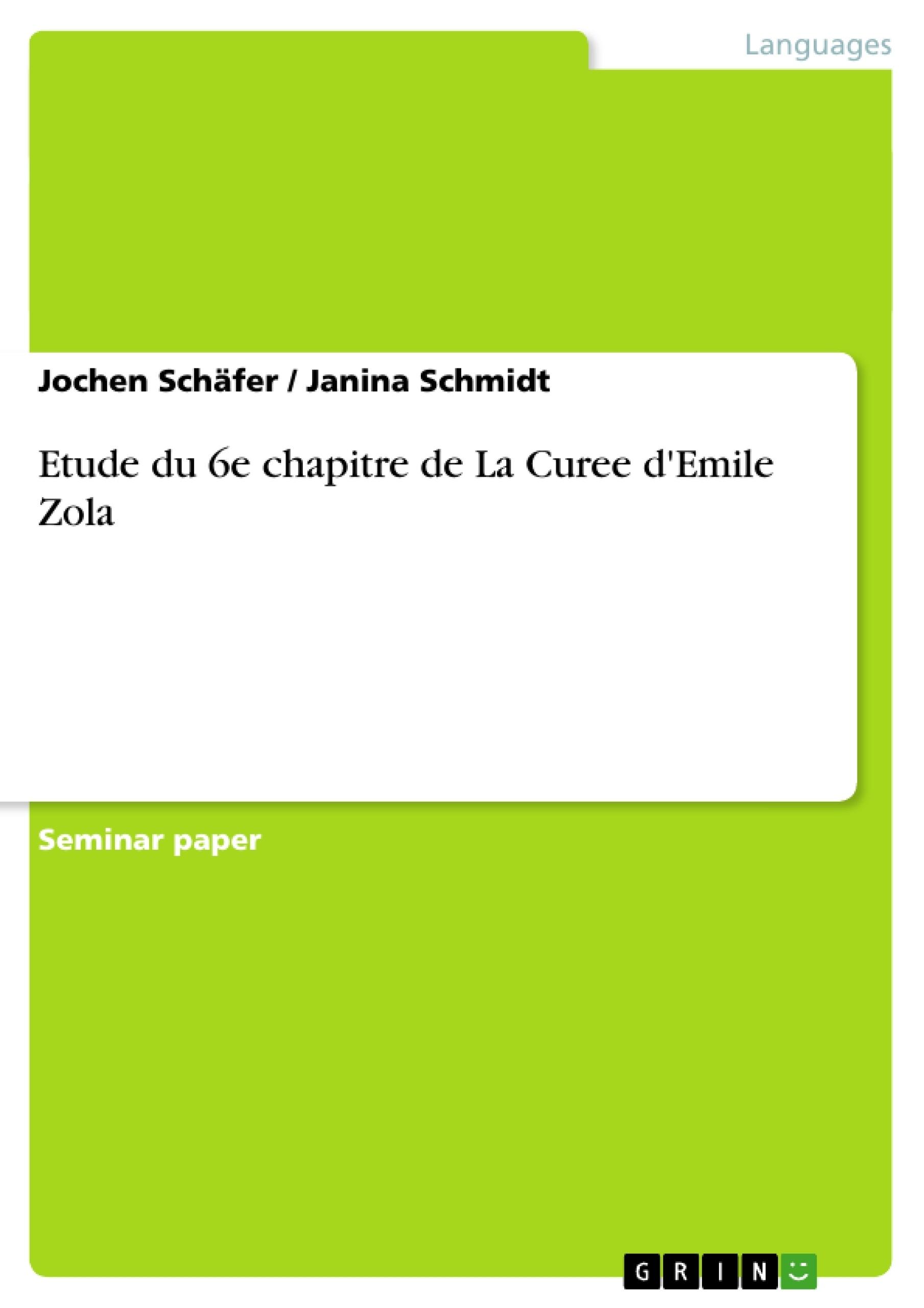 Titre: Etude du 6e chapitre de La Curee d'Emile Zola