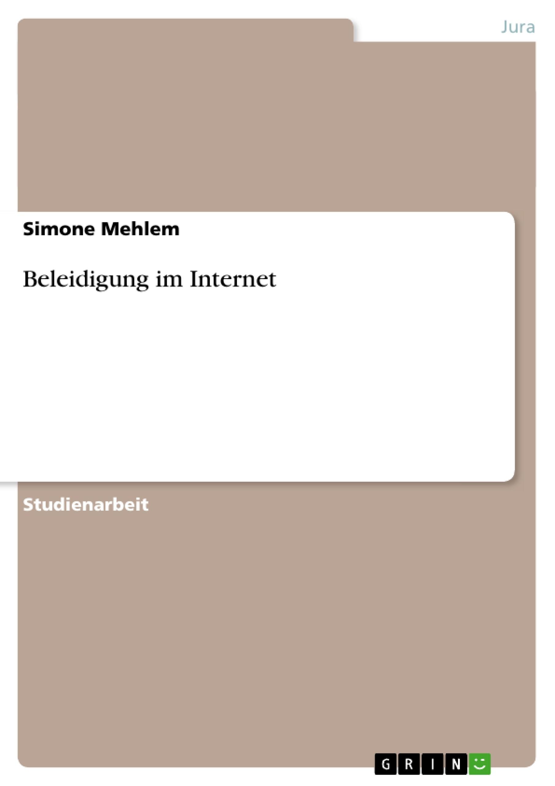 Titel: Beleidigung im Internet