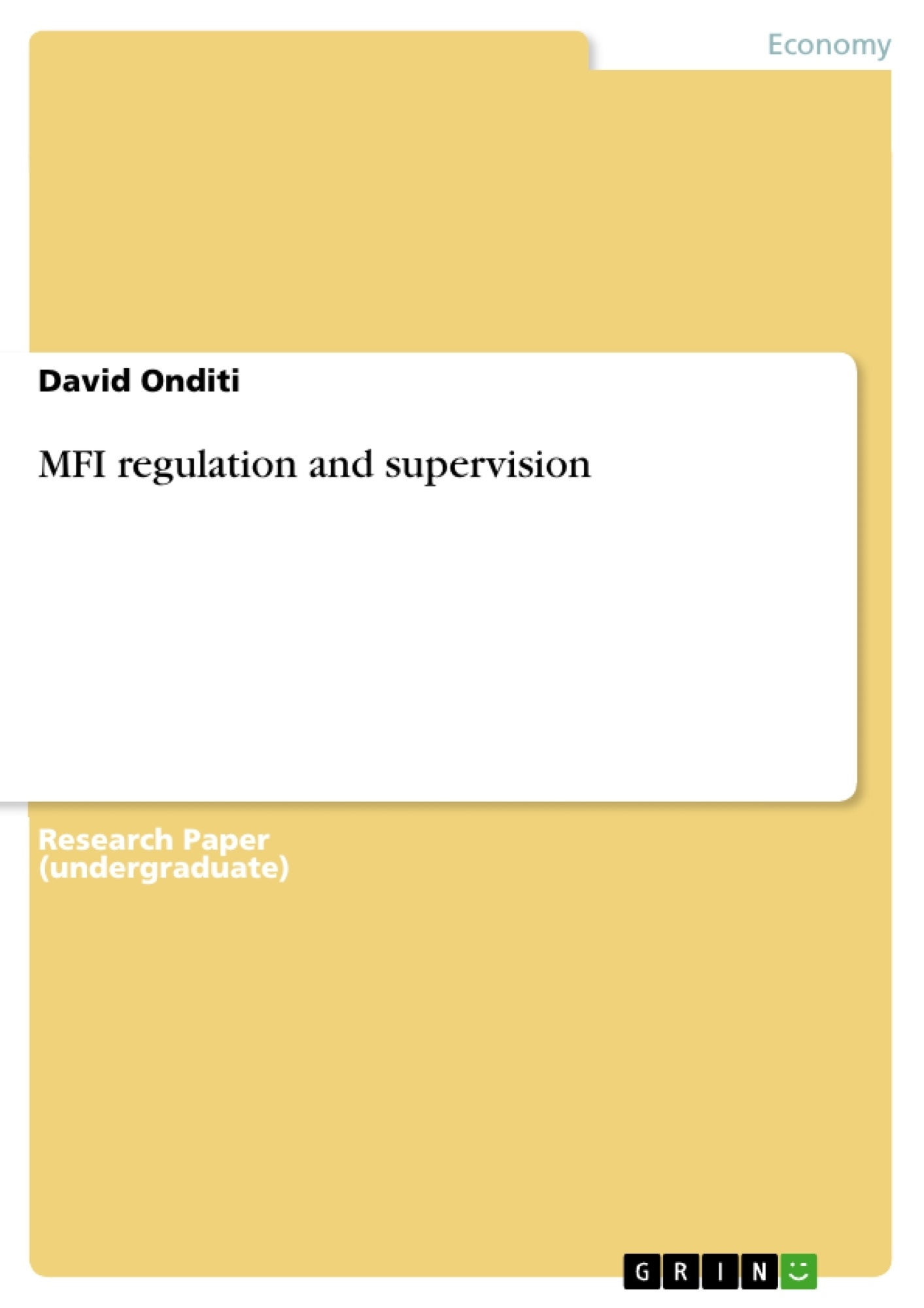 Title: MFI regulation and supervision