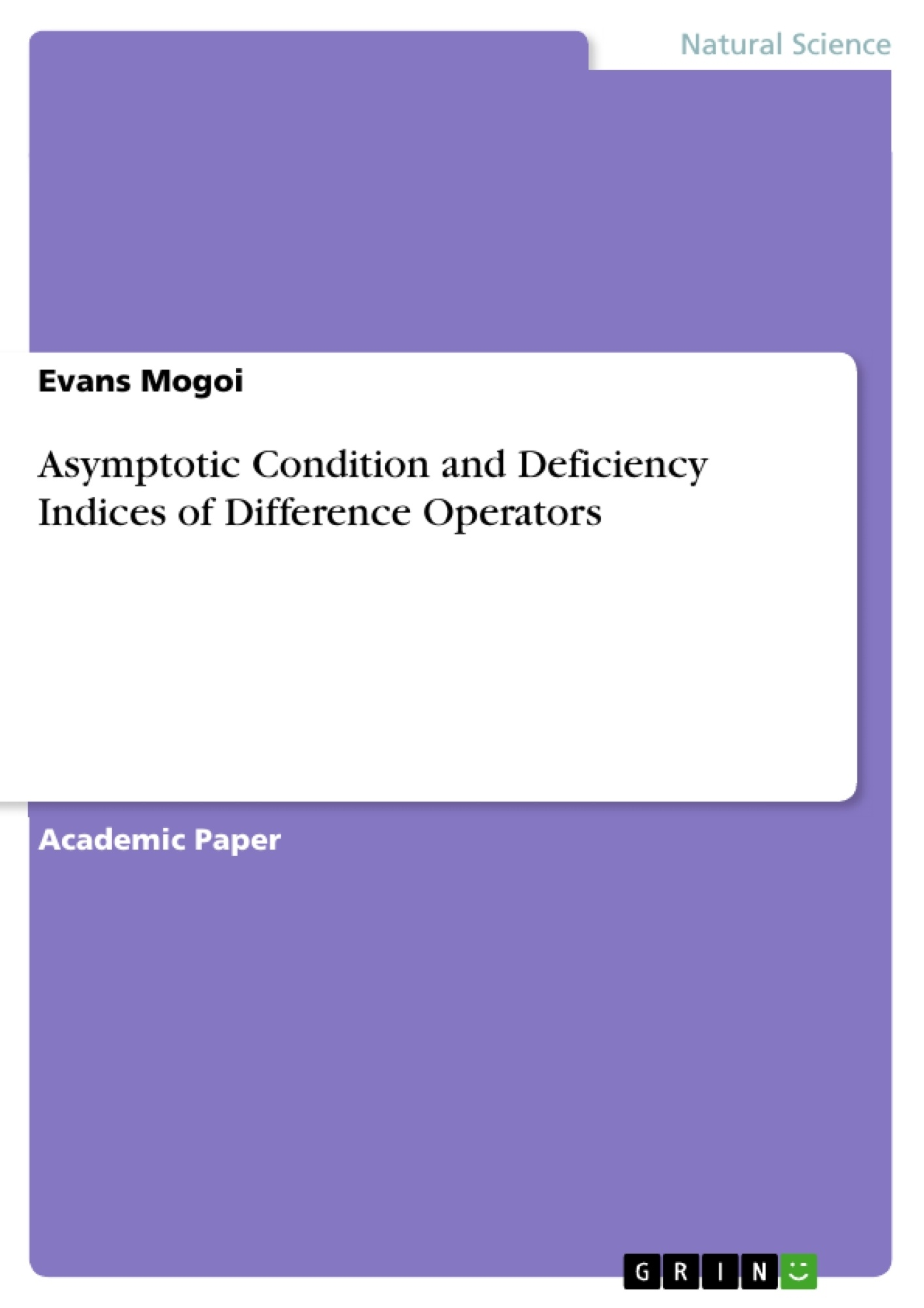 Title: Asymptotic Condition and Deficiency Indices of Difference Operators