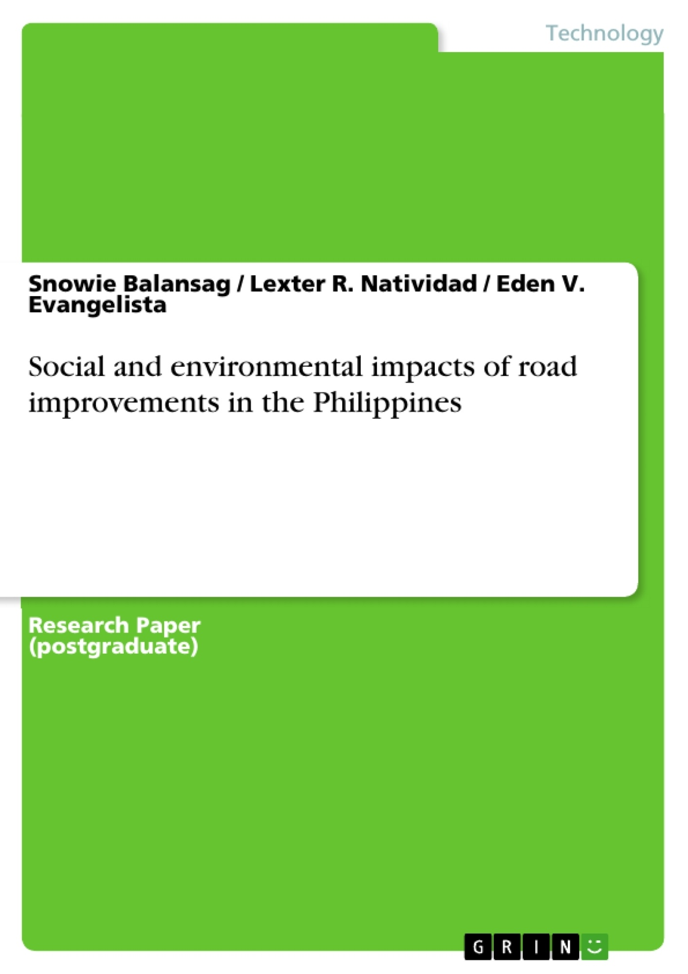 Title: Social and environmental impacts of road improvements in the Philippines