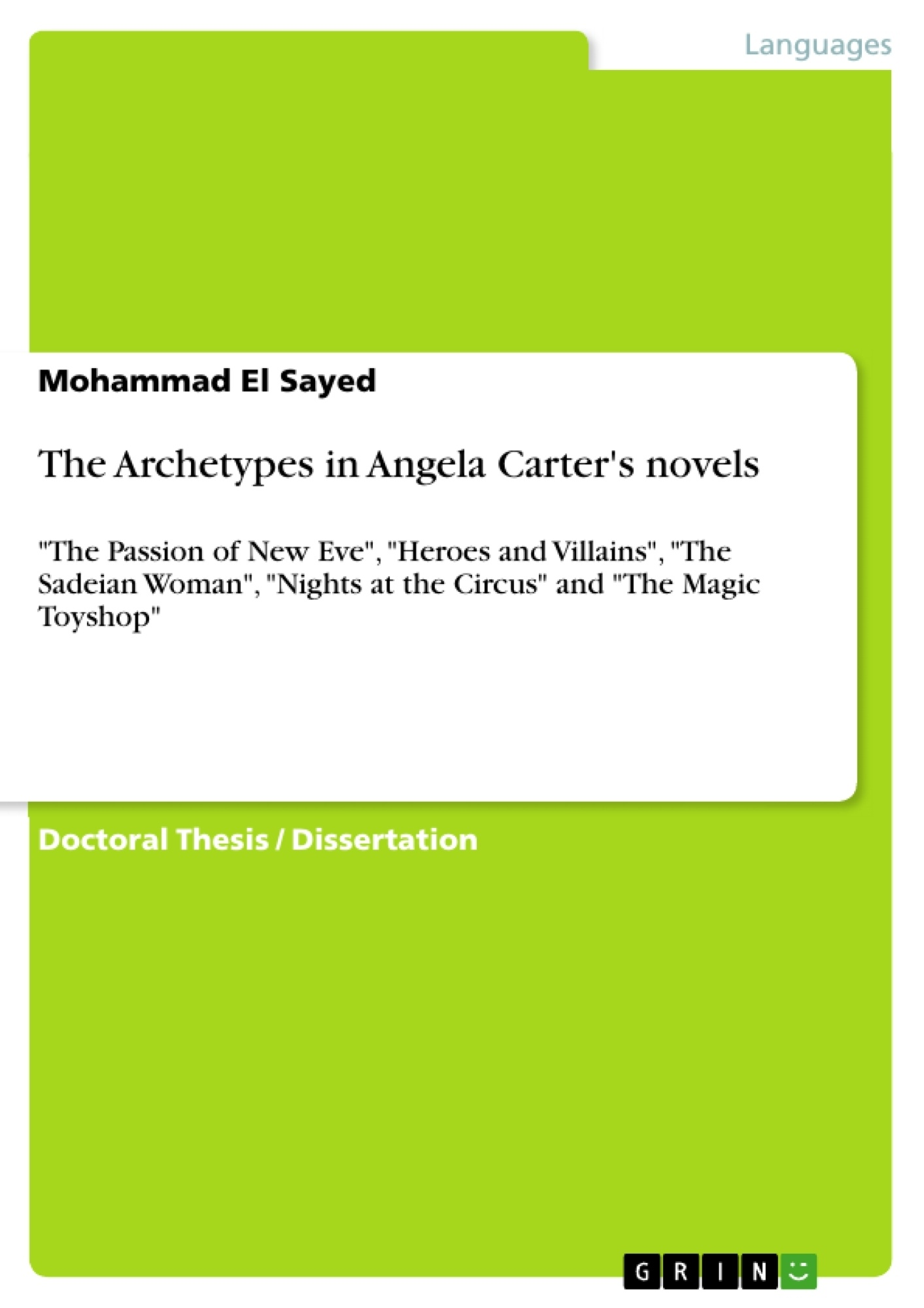 Title: The Archetypes in Angela Carter's novels