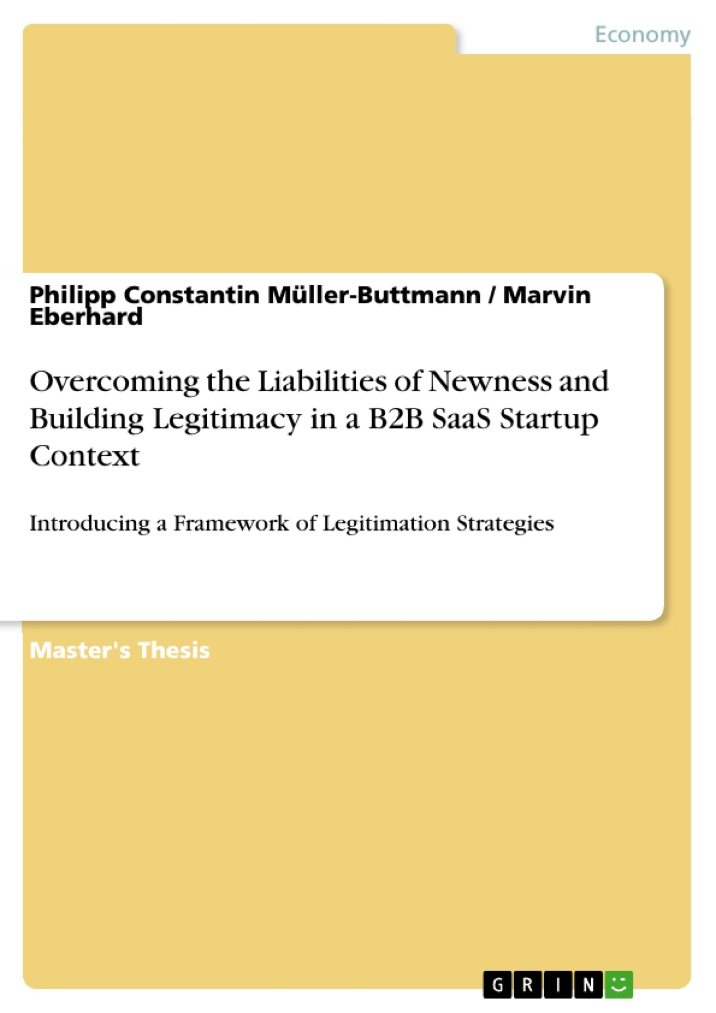 Title: Overcoming the Liabilities of Newness and Building Legitimacy in a B2B SaaS Startup Context