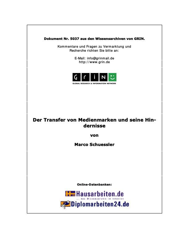 Titel: Der Transfer von Medienmarken und seine Hindernisse