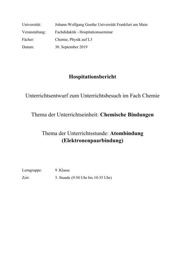 Titel: Atombindung im gymnasialen Chemieunterricht. Unterrichtsentwurf einer Hospitationsstunde (9. Klasse Chemie)