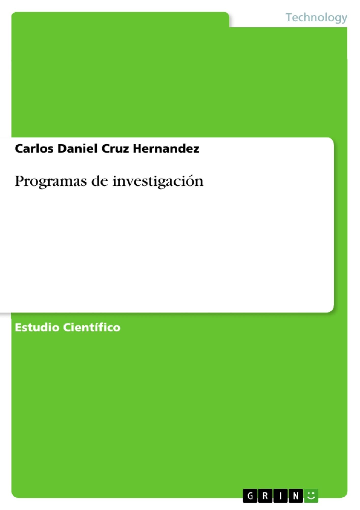 Título: Programas de investigación