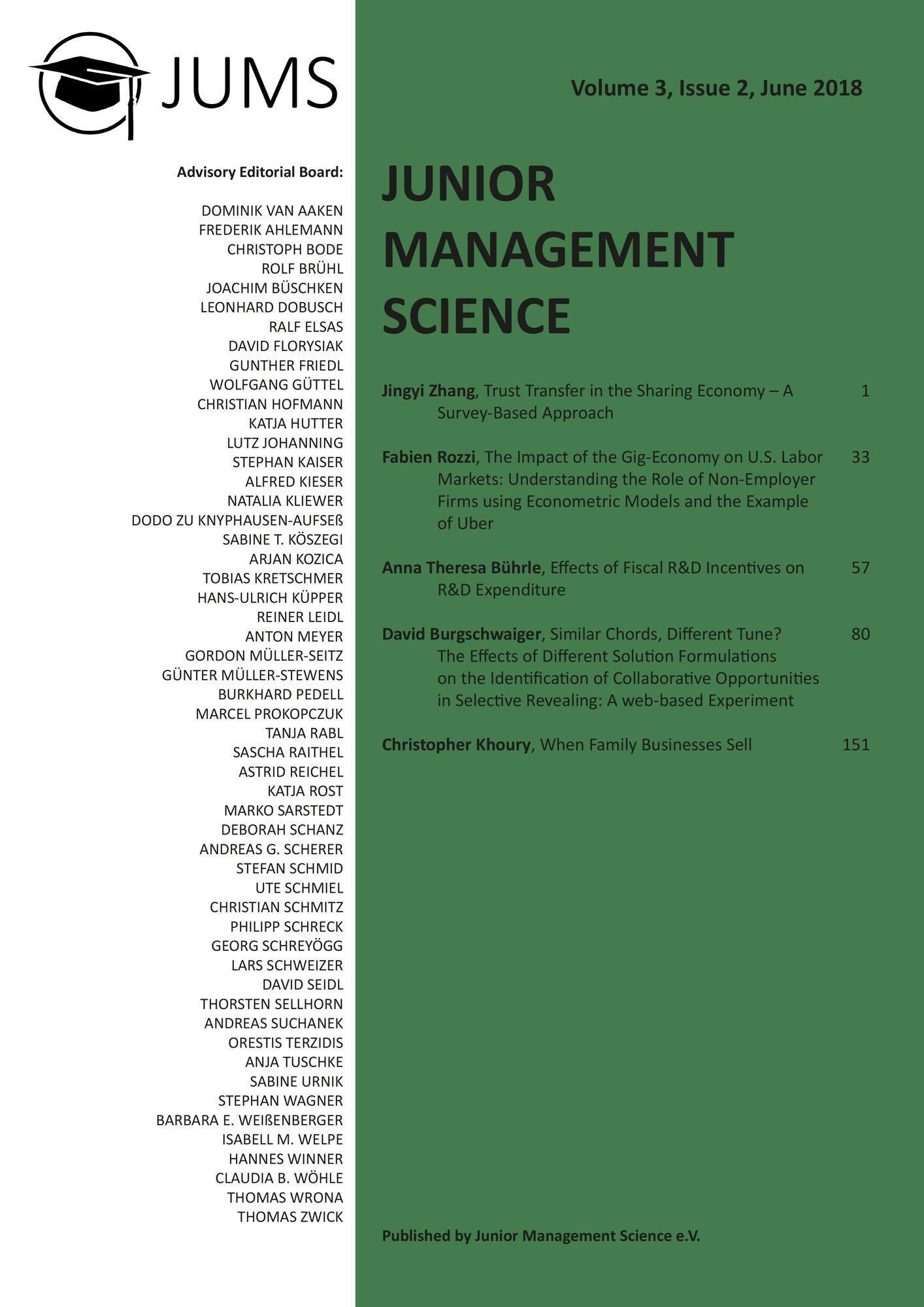 Titel: Junior Management Science, Volume 3, Issue 2, June 2018