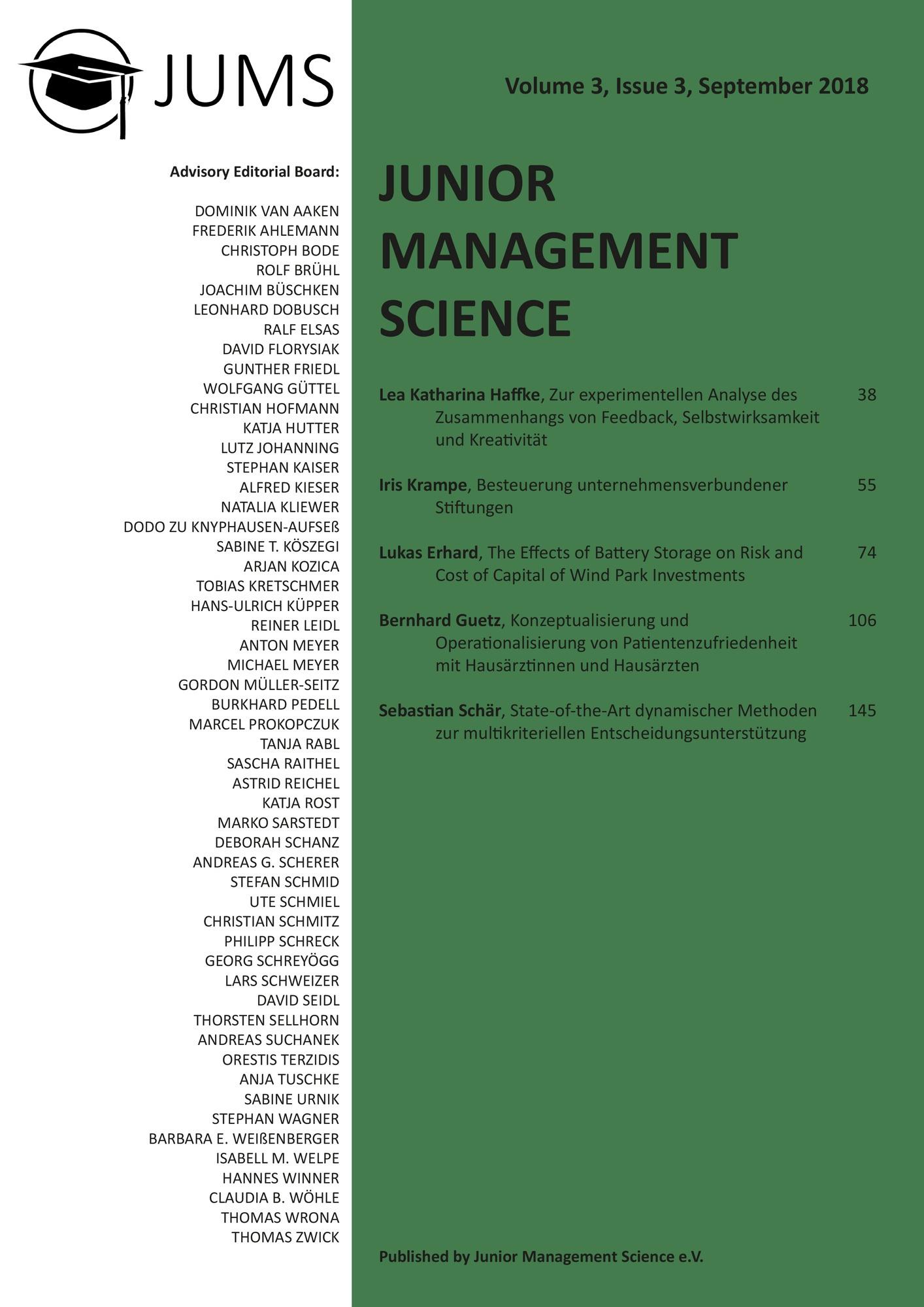 Titel: Junior Management Science, Volume 3, Issue 3, September 2018